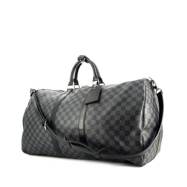 6ef804d8ef8e Sac de voyage Louis Vuitton Keepall 55 cm en toile damier graphite et cuir  noir