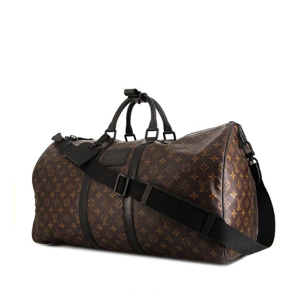 7e7586506bd1 Sac de voyage Louis Vuitton Keepall 55 cm en toile monogram marron et cuir  noir